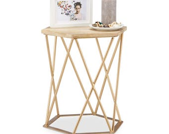 Coffee Table Chair Table stool hexagonal metal table wood