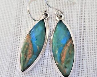 Peruvian Blue Opal/Sterling Silver Earrings