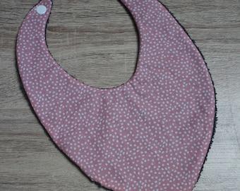Baby bandana bib pink with white polka dots