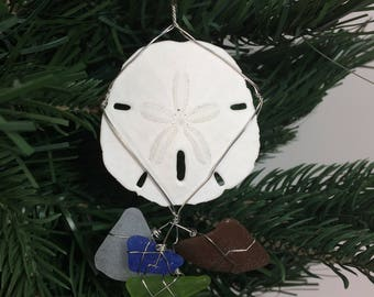 Real Sand Dollar and Seaglass Wire Wrapped Christmas Ornament #2002