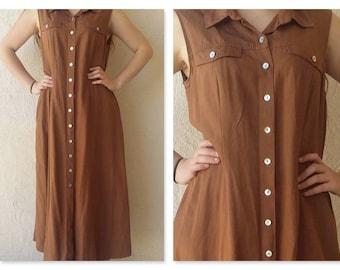 Boho Vintage 'Marks & Spencers' 80s/90s Button-Down Pinafore Maxi Dress / boho maxi dress