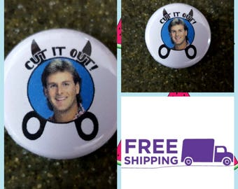 """1"""" Full House Cut it Out Button Pin or Magnet, FREE SHIPPING & Coupon Codes"""