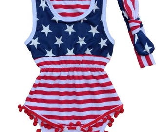 Baby & Toddler Girls RWB romper and headband - great for the 4th of July!