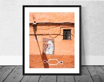 Morocco Art Print, Morocco Photography, Orange Wall with Window and Sign, Marrakech, Colour Photography, Home Décor, Vibrant Print