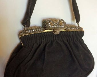 1930's French Suede Purse w/Beaded Frame