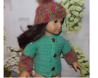 American Girl Doll is not included. Clothes for 18'' Dolls. Sweater & Hat with pompom on top.  Toy doll clothes. Made in the USA