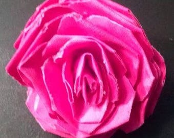 Fabric Rose Barrette Pink