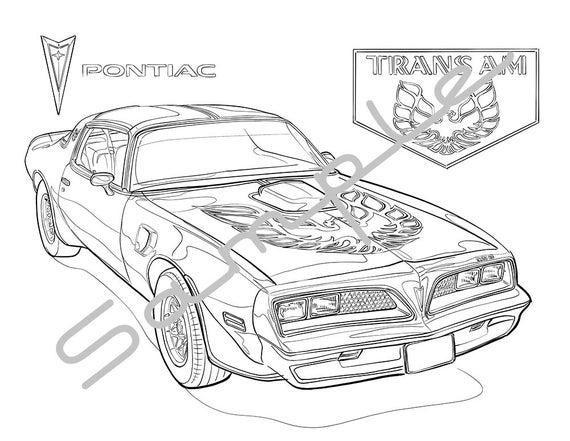 pontiac firebird trans am drawings sketch coloring page