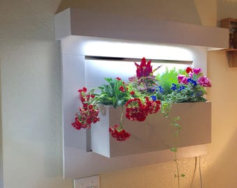 Plant and flower living wall wood planter with lighting for indoor vertical garden