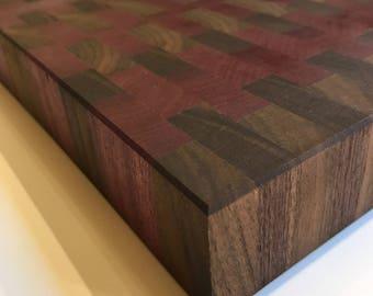 Premium Cutting Board: End Grain Walnut Purpleheart Butcher Block