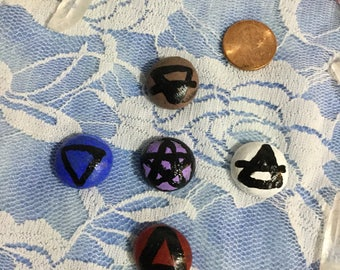 Original Handpainted Glass Stones of Earth , Air, Fire, Water, and Spirit