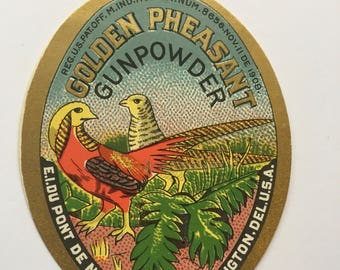 Golden Pheasant Gunpowder Label