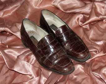 Vintage 90s Brown Leather Loafers Slip Ons Size EU 37 UK 4 US 7