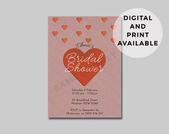 Bridal Shower Invite - Custom invitation Design - Digital and DIY Printable file OR Printed for you