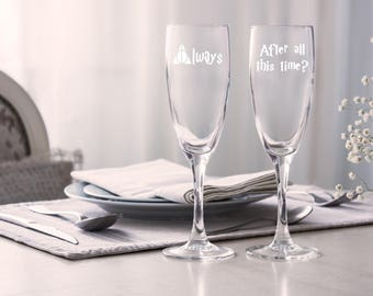 Harry Potter,champagne flutes ,After All This Time,Always,Bride and Groom,harry potter champagne flutes,Harry potter champagne glass