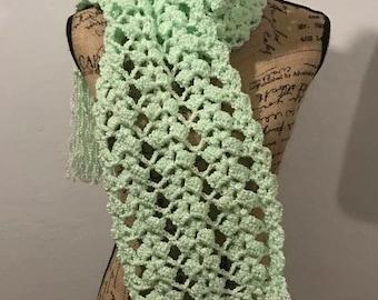 Handmade Textured Beautiful Crochet Scarf / Neck Warmer, Winter & Fall Scarf /  Green Mint Menta color