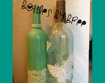 Teal & Butterfly Lace Wine Bottles