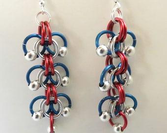 Patriotic Jump Ring Earrings