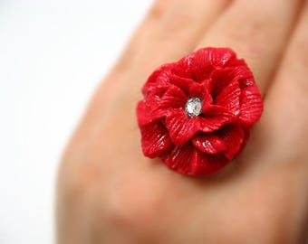 Flower ring polymer clay adjustable ring polymer clay floral handmade ring