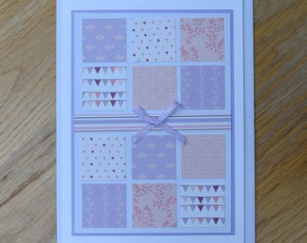 Pretty in Pink Patchwork Greetings Card