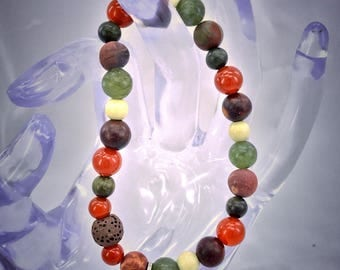 Gorgeous Lava Bead Bracelet with a Peace Charm