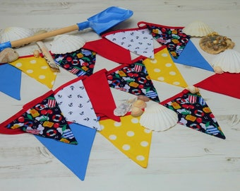 Nautical Red Blue Cotton Cloth Fabric Bunting Baby Bunting Childrens Bunting Nursery Decoration Childrens Party Beach Party Beach HutBunting