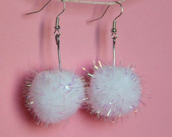 Large holographic glitter pom pom dangle earrings , drop earrings , long earrings , mixed media jewellery earrings , made by the zadie store