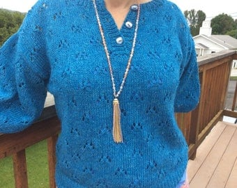 Long Beaded Tassle Necklace
