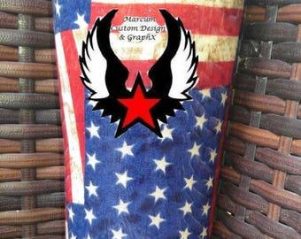 Patriotic Fabric Tumbler 20oz