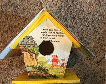 Mini Golden Book Birdhouse with Winnie the Pooh Book.