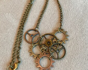 Steampunk gear cluster necklace