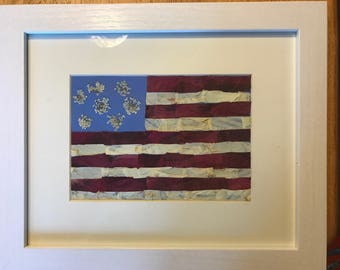 American Flag red rose and dogwood petals 8x10