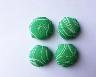 Vintage Green Fabric Magnets (set of 4)