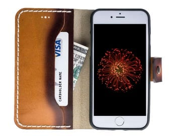 Hand Painted Vegetable Tanned Genuine Leather Wallet Case for Apple iPhone 7 / 8