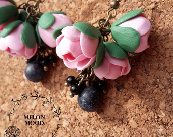 Earrings with berries and flowers, Polymer clay earrings, Polymer clay jewelry, Handmade jewelry, Gift idea