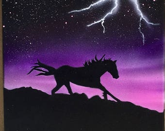 Horse Silhouette original painting on canvas.