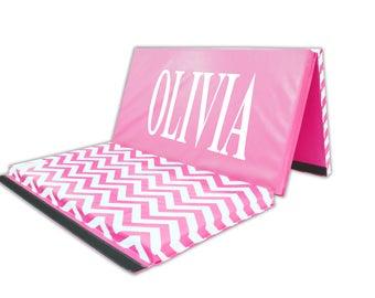 "Personalized Chevron Zig Zag 4' X 6' X 2"" Intermediate Level Folding Gymnastics Mat Pink and White"