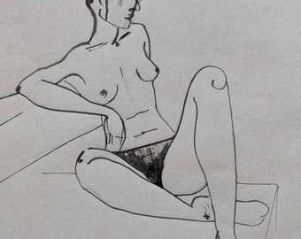 Original signed Act of drawing with black ink and on brown paper, naked woman, female nude,