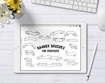Procreate Banner Stamp Brushes, Procreate Stamp Brush, Banner Brush, iPad Pro, Digital Stamp