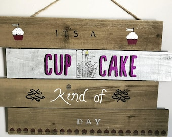 Handmade Wood Cupcake Sign - It's a Cupcake Kind of Day/Glitter/Purple/Customizable