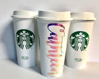 Personalized Starbucks Cups, Holographic, Christmas gift, Personalized gift, Bridesmaids Gift, Wedding Gift, Friend Gift
