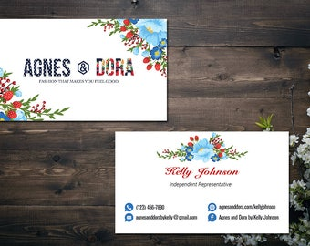 PERSONALIZED Agnes and Dora Business Card, Agnes and Dora Punch Card, Business Cards, Digital File AD05