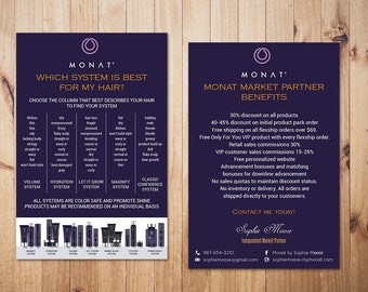 PERSONALIZED Monat Market Partner Benefits, Monat Systems, Custom Monat Hair Care Card, Fast Free Personalization, Monat Business Cards MN18