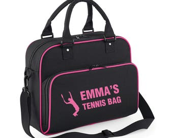 iLeisure Girls Personalised Name Tennis Serving Figure Kit Bag.