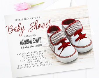 Baby shower invitation, Red baby shoes, baby shower invitation, Red sneakers,baby shower invitation, red baby shower invite, cute invitation