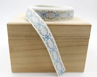White Jacquard Ribbon. Jacquard Trim. Sewing. Decorative Trim. 5/8