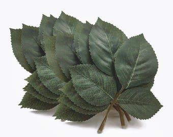 12 Leaf Stems. Green Leaves. Leaf Appliques. Leaf Spray. Leaf Trio