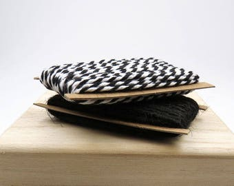 Black and White Twine and Black Jute. Gift Wrapping. Packaging Twine.