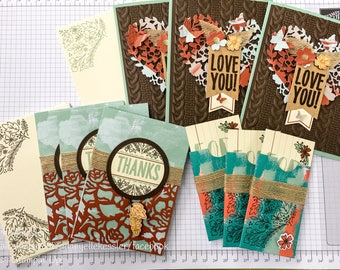Stampin' Up! Greeting Card Set w/envelopes. 6 cards, 3 gift card sleeves (blank inside)