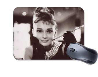 Audrey Hepburn Mouse Mat. High Quality Computer Mouse Pad.  Movie Memorabilia Movie Star Gift
